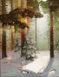 Winter Forest By Victor Bykov, Oil Painting