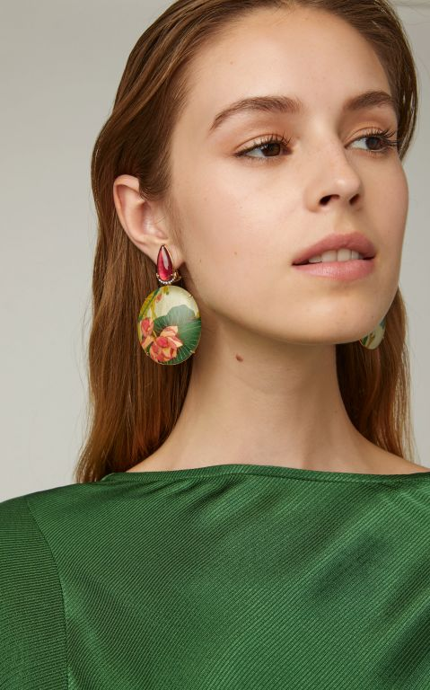 Silvia Furmanovich Marquetry Pink Flower Earrings